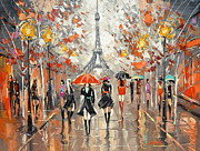 Rainy Street Painting Framed Prints - Evening. Paris Framed Print by Dmitry Spiros