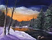 Winter Scenes Rural Scenes Drawings Prints - Evening Reflection Print by Anastasiya Malakhova