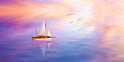 Sailboats Mixed Media - Evening Sail by Michael Petrizzo