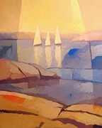 Rocky Coast Paintings - Evening Sails by Lutz Baar