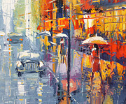 Crosswalk Painting Posters - Evening scetch Poster by Dmitry Spiros