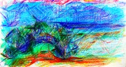 Colored Pencil Landscape Drawings Drawings - Evening Seascape Larnaca Cyprus by Anita Dale Livaditis