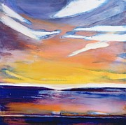 Dusk Paintings - Evening seascape by Lou Gibbs