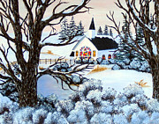 Christmas Eve Paintings - Evening Services by Barbara Griffin