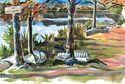 Canoe Mixed Media Prints - Evening Shadows at Shepherd Mountain Lake  No W101 Print by Kip DeVore
