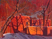 Autumn Trees Prints - Evening Shadows on a Round Taos House Print by Art West