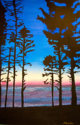 Line Pastels Originals - Evening Sillouette by Dana Kern
