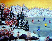 Ice Skates Paintings - Evening Skating by Barbara Griffin