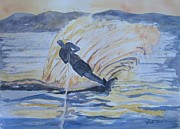 Waterski Paintings - Evening Ski Run by Dodie Davis