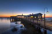Evening Sky At The Dock Print by Debra and Dave Vanderlaan