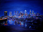 Philadelphia Painting Metal Prints - Evening Skyline Metal Print by Art by Kar