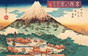 Woodcut Paintings - Evening Snow on Fuji by Pg Reproductions