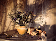 Tableware Digital Art - Evening still Life c with wildflowers by Sviatlana Kandybovich
