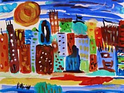 Cityscape Drawings - Evening Sun Cityscape by Mary Carol Williams