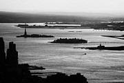 Manhaten Prints - Evening Sunset View Of Liberty And Ellis Island Islands New York City Bay Usa Print by Joe Fox