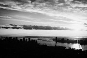 Manhatan Posters - Evening Sunset View Of Lower Manhattan And Hudson River New York City Poster by Joe Fox