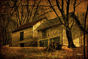 Sheds Digital Art Prints - Evening Twilight Fades Away Print by Lois Bryan