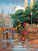 Crosswalk Painting Posters - Evening umbrellas Poster by Dmitry Spiros