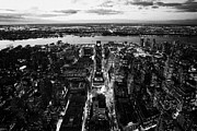 Manhatten Photo Prints - Evening View Of Manhattan West Towards Hudson River And One Penn Plaza Night New York City Print by Joe Fox