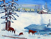 Snowy Evening Painting Posters - Evening Visitors Poster by Barbara Griffin
