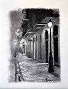 St. Louis Drawings Originals - Evening Walk Down Pirate Alley by Ron Landry