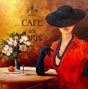 Cafe Scene Paintings - Evening Wine by Kanayo Ede