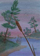 Cattail Paintings - Evening Wish by Robert Meszaros