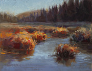 Wasilla Posters - Ever Flowing Alaskan Creek in Autumn Poster by Karen Whitworth
