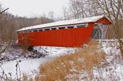 Ohio. Oh Framed Prints - Everett Rd. Covered Bridge in Winter Framed Print by Jack R Perry