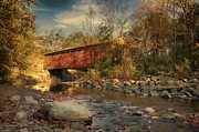 Everett Rd Summit County Ohio Covered Bridge Fall Print by Jack R Perry