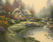 Cottage Framed Prints - Everetts Cottage Framed Print by Thomas Kinkade