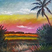 Florida Paintings - Everglades at Dusk by Eve  Wheeler