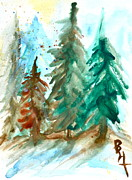 Christmas Holiday Scenery Art - Evergreen Forest by Beverley Harper Tinsley