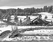 Frozen Lake Posters - Evergreen Lake House Winter Poster by Ron White