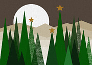 Moonlit Digital Art Prints - Evergreen Winter Print by Val Arie