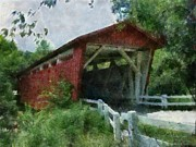 Old Roadway Prints - Everrett Road Covered Bridge Print by Scott B Bennett