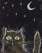 Moonlight Drawings Posters - Every Cat Appears Black In The Night  Poster by Angel  Tarantella