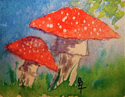 Blue Mushrooms Painting Posters - Everything Gets Brighter Poster by Beverley Harper Tinsley