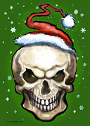 Elf Art - Evil Christmas Skull by Kevin Middleton