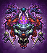 Skulls Digital Art - Evil Clown by David Bollt