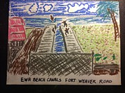 Hawaiian Folk Art Drawings - Ewa Beach Canals by Willard Hashimoto