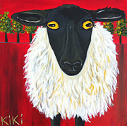 Irish Artists Painting Originals - Ewe lookin at me by Kiki Roosli