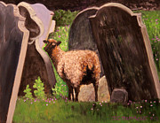 Headstones Paintings - Ewe Spooked? by Janet Greer Sammons