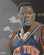 Knicks Drawings Framed Prints - Ewing Framed Print by Don Medina