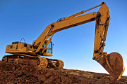 Engineering Metal Prints - Excavator Metal Print by Olivier Le Queinec