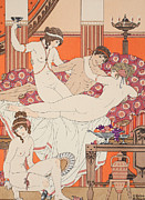 Bedroom Lovers Posters - Excess of Wine and Women Poster by Joseph Kuhn-Regnier