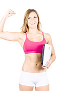 Excited Weight Loss Woman Over White Background Print by Ryan Jorgensen