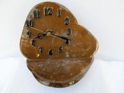 Executive Desk Clock In Gold Moss Agate Stone Tos3406 Print by W Bruce Watts