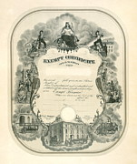 Certificates Prints - Exempt Fireman Certificate 1898 Print by Padre Art