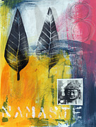 Yellow Mixed Media Metal Prints - Exhale Metal Print by Linda Woods